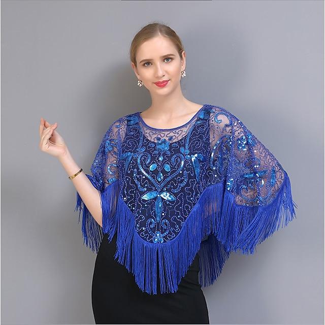 Retro Vintage Prom Dress Women's Sequins Tassel Fringe Costume Blue / Black / Red / black / Green and Black Vintage Cosplay Party & Evening / Shawl