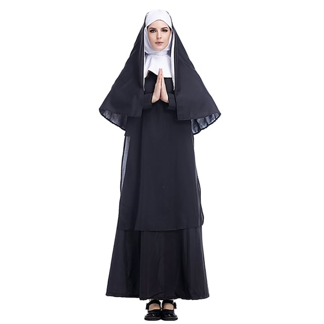 Cosplay Cosplay Costume Adults' Women's Halloween Halloween Festival Halloween Festival / Holiday Terylene Black Women's Easy Carnival Costumes Solid Color / Dress / Shawl / Headwear