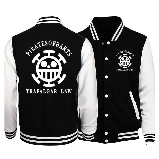 Inspired by One Piece Monkey D. Luffy Varsity Jacket Poly / Cotton Anime Harajuku Graphic Kawaii Coat For Men's / Women's