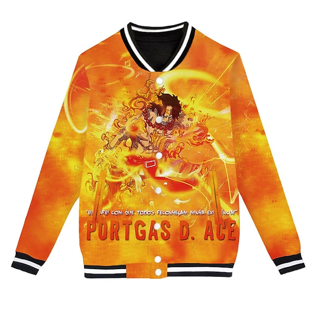 Inspired by One Piece Monkey D. Luffy Varsity Jacket Polyster Anime 3D Harajuku Graphic Coat For Men's / Women's