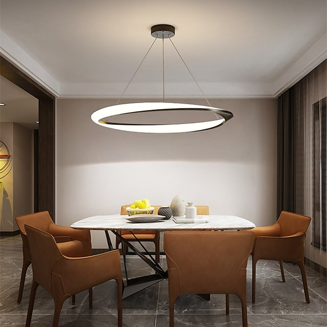 New Net Red Restaurant Chandelier Simple Modern Ring Dining Room Lamp Creative Personalized Household Table Lamp