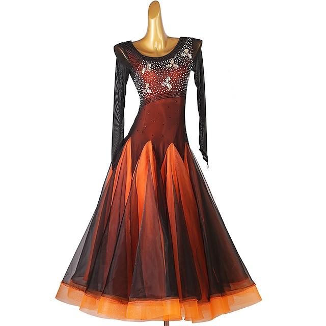 Ballroom Dance Dress Splicing Crystals / Rhinestones Women's Training Performance Long Sleeve Natural Chinlon Mesh Organza