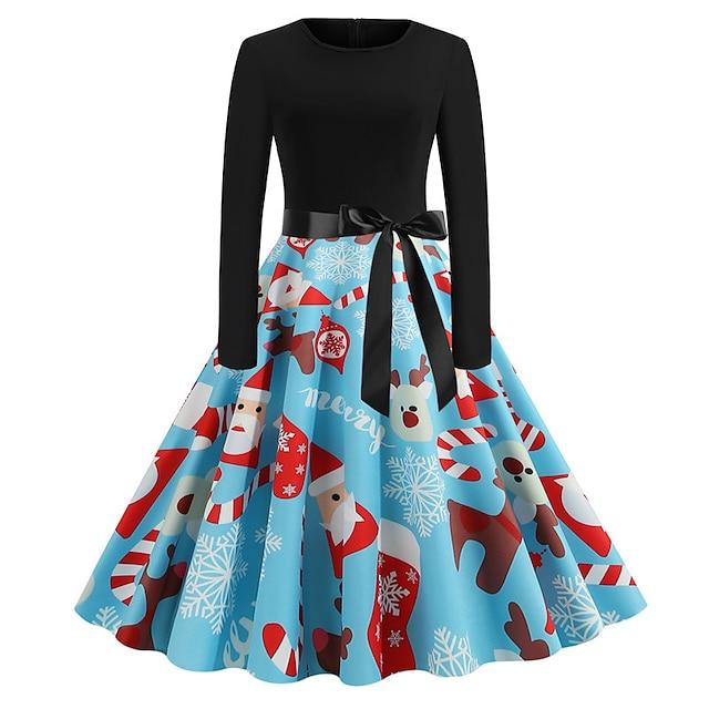 Audrey Hepburn Retro Vintage Hepburn Dress Women's Slim Fit Costume Red black / Black & White / Yellow / Black Vintage Cosplay Dress Festival Long Sleeve Knee Length A-Line / Belt