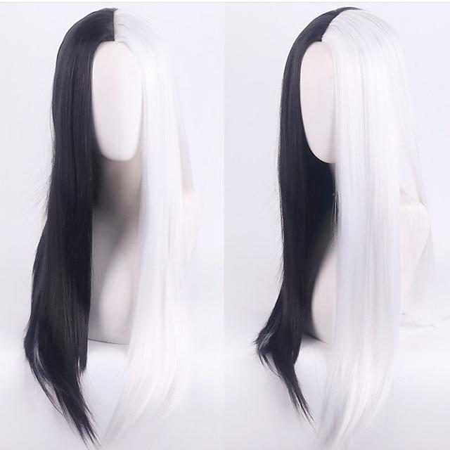 101 Dalmatians Cruella De Vil Cosplay Wigs Women's Middle Part / Heat Resistant Fiber Natural Straight Black Adults' Anime Wig