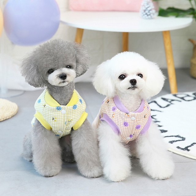 pet clothes dog clothes autumn and winter clothes cotton-padded clothes teddy small dog pet clothes winter 21 smiley cotton vest