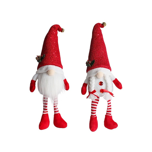Pinecone Faceless Doll Ornament Dwarf Old Man Red Hat Long Leg Plush Doll Holiday Gift