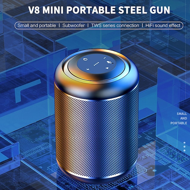 MC-V8 Small Steel Cannon Wireless Bluetooth Speaker Subwoofer Mobile Phone Mini Player Outdoor Portable Portable High Volume
