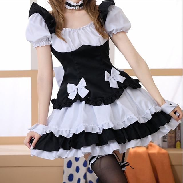 Lolita Maid Uniforms Lolita Cute Cosplay Costume Women's Japanese Cosplay Costumes Black Solid Color Short Sleeve Short / Mini / Dress