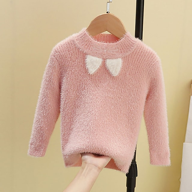 Toddler Girls' Sweater Long Sleeve Blue Blushing Pink Orange Solid Color Patchwork Indoor Outdoor Active Daily 1-5 Years