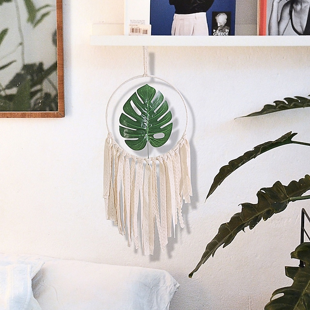 Home decoration wall decoration wall hanging fresh green plants iron circle leaves dream catchers wall hanging wall ornaments tassel weaving