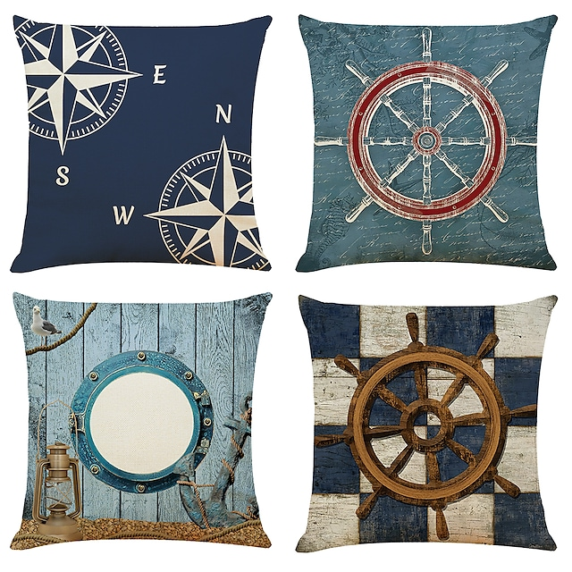 Ocean Sailing Double Side Cushion Cover 4PC Soft Decorative Square Throw Pillow Cover Cushion Case Pillowcase for Bedroom Livingroom Superior Quality Machine Washable Indoor Cushion for Sofa Couch Bed Chair