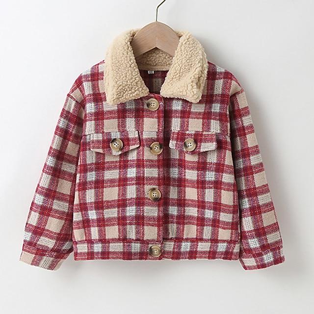 Kids Girls' Coat Long Sleeve Red Plaid Pocket Patchwork Street Sport Vacation Active Streetwear Sport Cute 1-5 Years