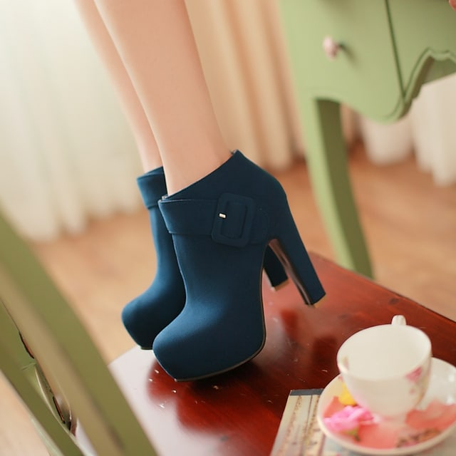 Women's Boots Chunky Heel Round Toe Booties Ankle Boots Daily Office Suede Solid Colored Blue Black / Booties / Ankle Boots