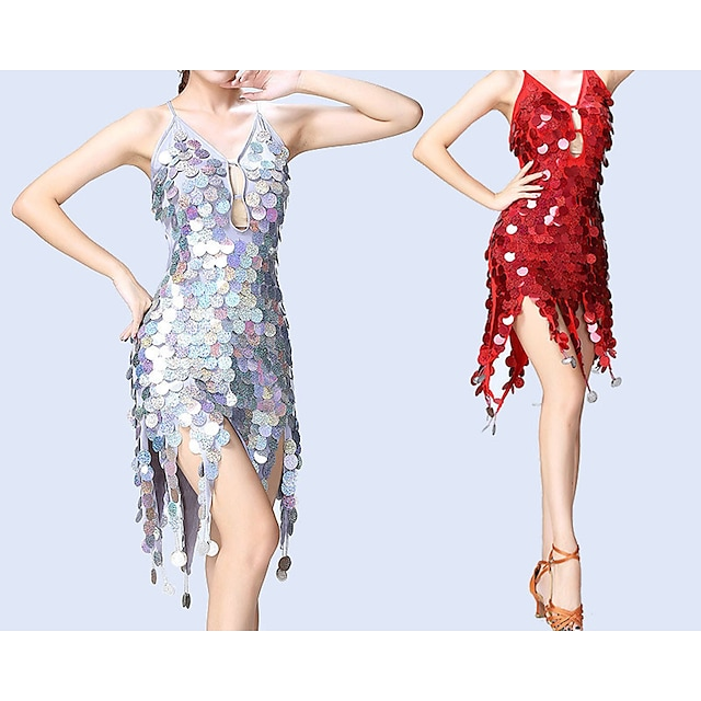 Women Exotic Dancewear Latin Dance Dance Party Costume Exotic Dancewear Polyster Golden Lake blue Purple Dress