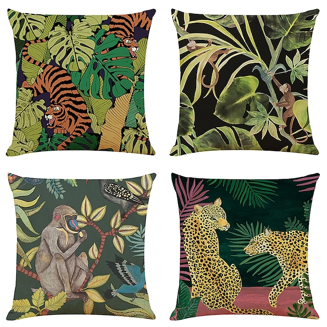 Tropical Animal Double Side Cushion Cover 4PC Soft Decorative Square Throw Pillow Cover Cushion Case Pillowcase for Bedroom Livingroom Superior Quality Machine Washable Indoor Cushion for Sofa Couch Bed Chair