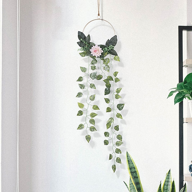 Fresh simulation vine dream catcher decoration pendant iron net green plant homestay decoration