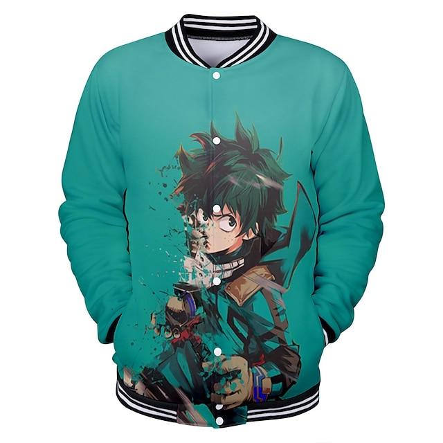Inspired by My Hero Academia / Boku No Hero Deku Varsity Jacket Polyster Anime 3D Harajuku Graphic Coat For Men's / Women's