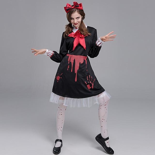 Vampire Ghostly Bride Cosplay Costume Adults' Women's Halloween Halloween Halloween Festival / Holiday Terylene Black Women's Easy Carnival Costumes Other / Cravat / Dress / Headwear