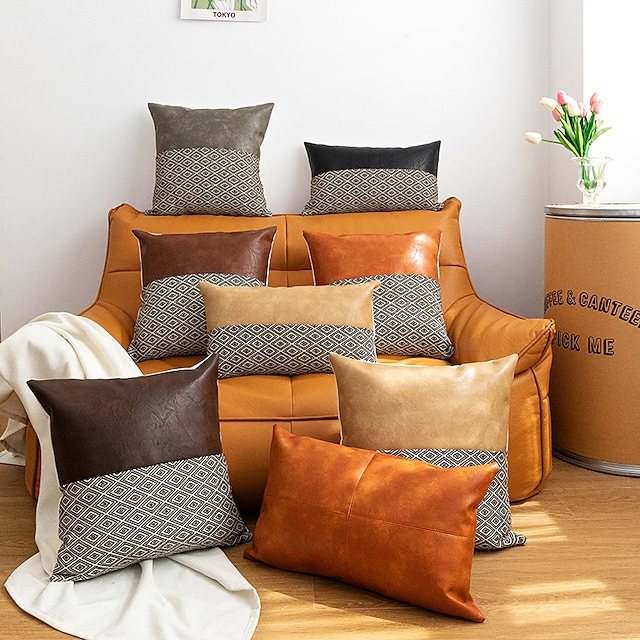 Cushion Cover Diamond Grid PU Stitching Pillowcase for Bedroom Livingroom Superior Quality Machine Washable Indoor Cushion for Sofa Couch Bed Chair
