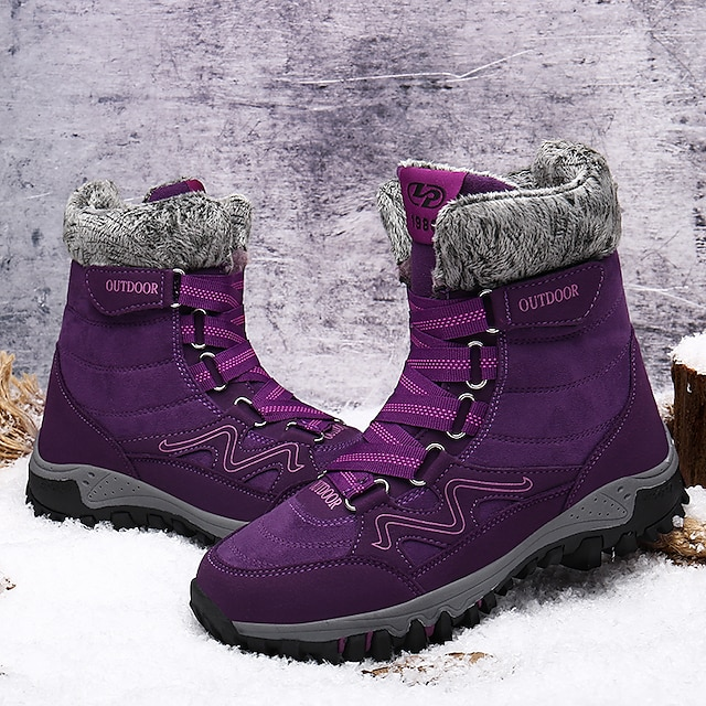 Women's Boots Flat Heel Round Toe Booties Ankle Boots Daily Work Suede Solid Colored Purple Red Black