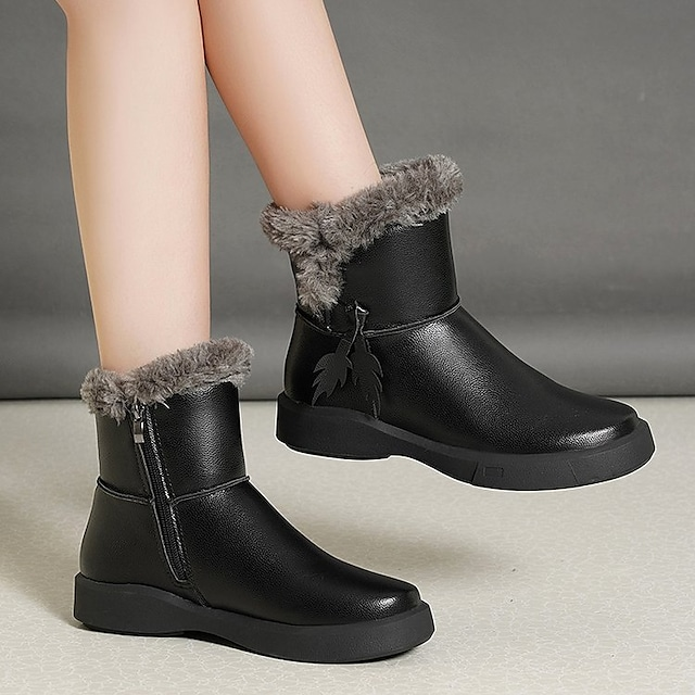Women's Boots Flat Heel Round Toe Rubber Solid Colored Black