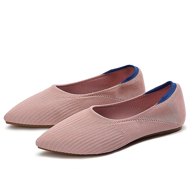 Women's Slip-Ons Flat Heel Round Toe Booties Ankle Boots Daily Work Tissage Volant Solid Colored Red Pink Black