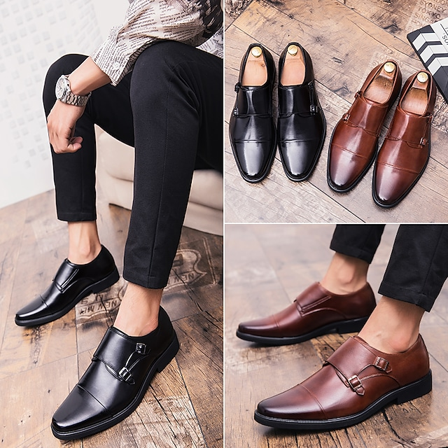 Men's Oxfords Business Casual Classic Daily Office & Career Leather Black Brown Fall Winter