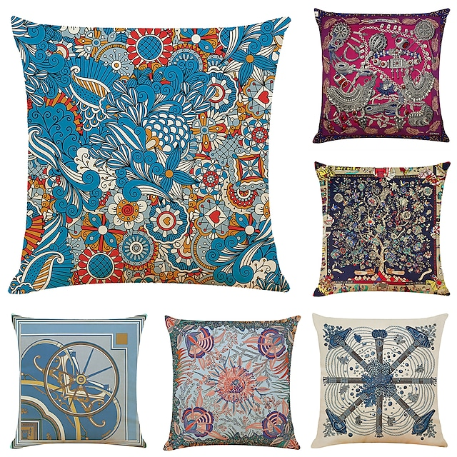 Art Colorful Double Side Cushion Cover 6PC Soft Decorative Square Throw Pillow Cover Cushion Case Pillowcase for Bedroom Livingroom Superior Quality Machine Washable Outdoor Indoor Cushion for Sofa Couch Bed Chair