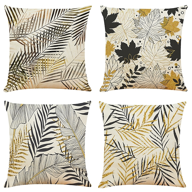 Tropical Plant Double Side Cushion Cover 4PC Soft Decorative Square Throw Pillow Cover Cushion Case Pillowcase for Bedroom Livingroom Superior Quality Machine Washable Indoor Cushion for Sofa Couch Bed Chair