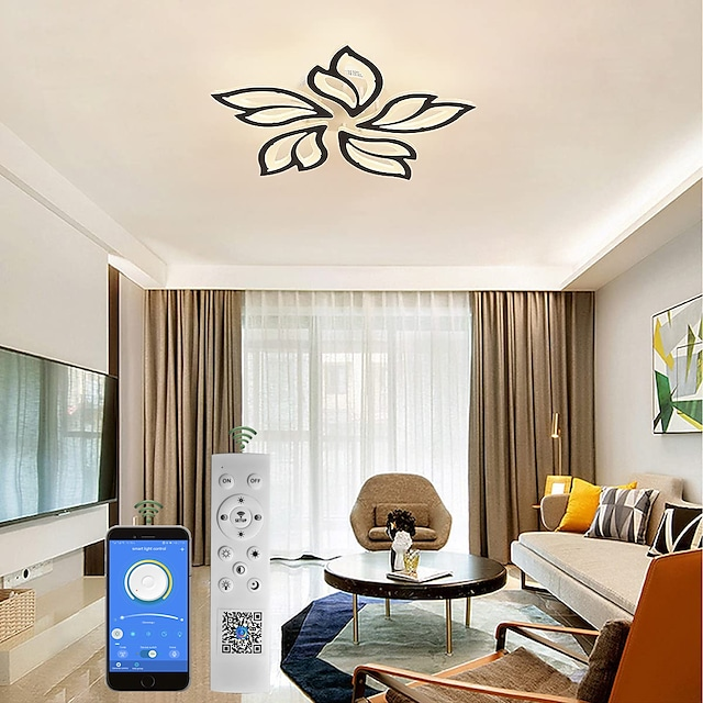 Modern Acrylic Ceiling Lamp 27.3 inch 65W LED Maple Leaf Flower Design Adjustable Light Branch Chandelier Embedded Installation Chandelier Lamp Suitable for Living Room Bedroom and Restaurant
