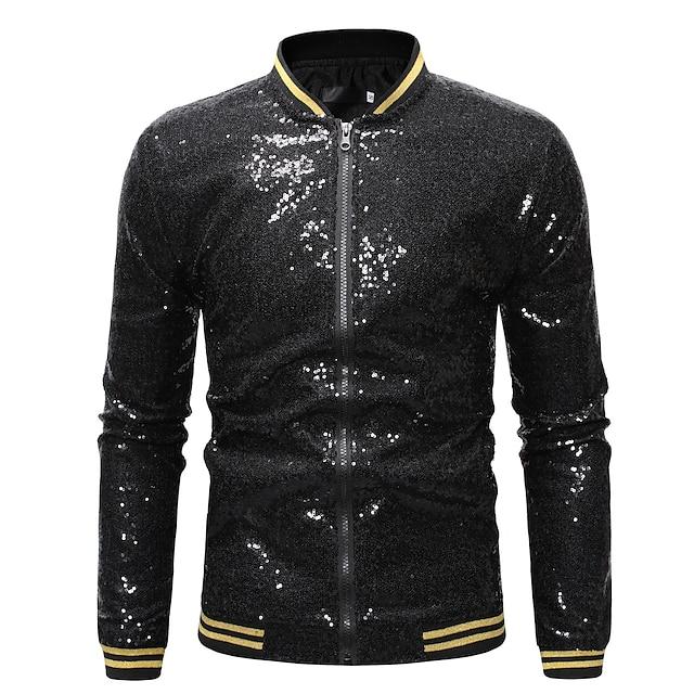 Men's Dancing Jacket Jackets Polyster Golden Burgundy Silver Jacket