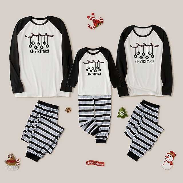 Christmas Pajamas Family Look Striped Star Letter Daily Patchwork Black Long Sleeve Daily Matching Outfits