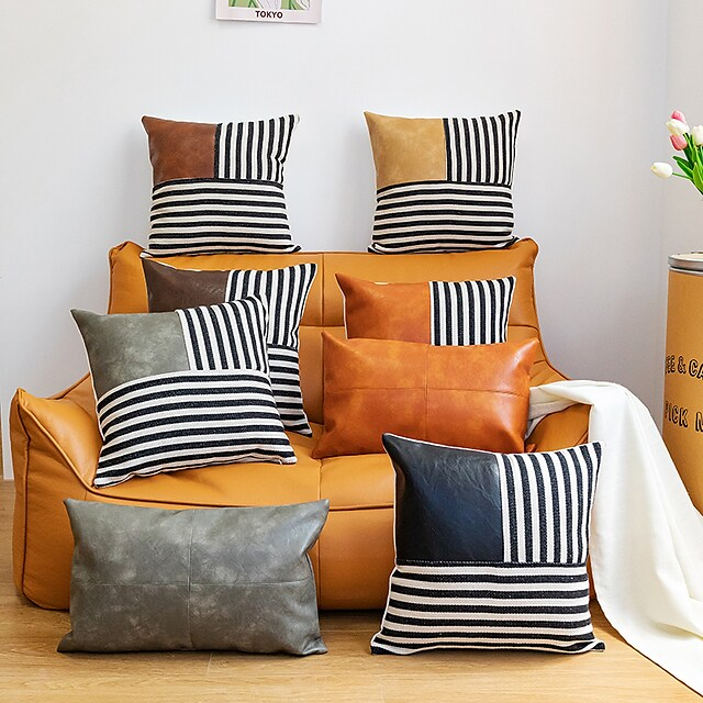 Household PU Stitching Stripe Pillowcase 1 Piece for Bedroom Livingroom Superior Quality Machine Washable Indoor Cushion for Sofa Couch Bed Chair