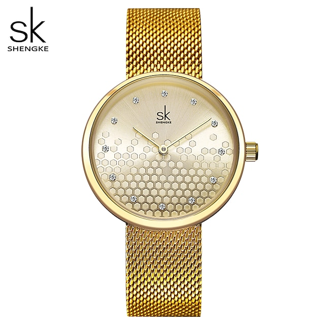 Shengke Woman Watches Gold Top Brand Luxury Watch Women Quartz Waterproof Women's Wristwatch Ladies Girls Watches Clock