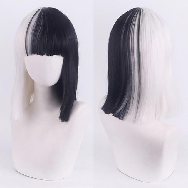 101 Dalmatians Cruella De Vil Cosplay Wigs Women's With Bangs / Heat Resistant Fiber Straight Black Adults' Anime Wig