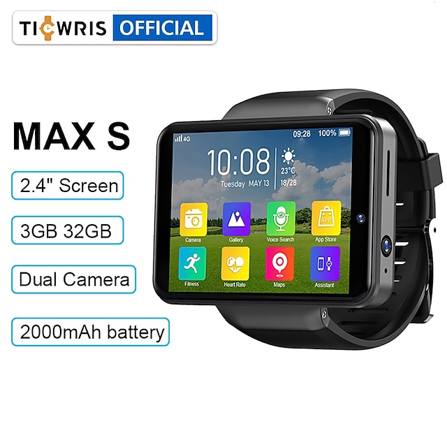 TICWRIS MAX S 스마트 시계 스마트 시계 전화 4G LTE 4G 심전도 + PPG 만보기 액티비티 트렉커 GPS 핸즈프리 콜 카메라 IP 67 65mm 시계 케이스 용 삼성 남성 / 슬립 트렉커 / 앉아있는 알림 / 3GB / 150-200