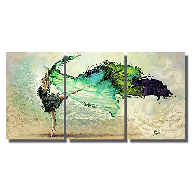 Stretched Canvas Print Painting Modern Abstract Wall Art Deco Three Panels Dancers Girls Ready to Hang