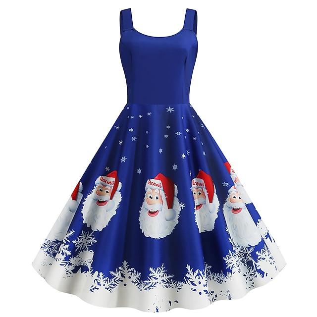 Santa Suit Dress Adults' Women's Vintage Christmas Festival Christmas New Year Festival / Holiday Terylene Purple / Blue / Gray Women's Easy Carnival Costumes Snowflake