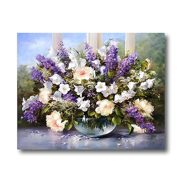 Rolled Canvas Print Painting Modern Abstract Wall Art Deco Large Purple Flowers Lavender No Frame