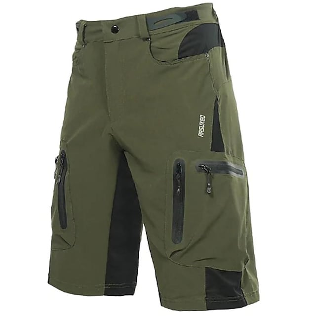 Arsuxeo Men's Cycling MTB Shorts Spandex Polyester Bike Shorts Baggy  MTB Shorts Breathable Quick Dry Waterproof Zipper Sports Solid Color Black / Dark Green Mountain Bike MTB Road