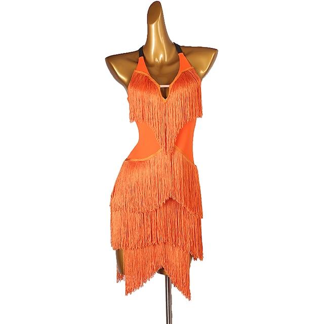 Latin Dance Dress Tassel Crystals / Rhinestones Women's Performance Sleeveless Chinlon