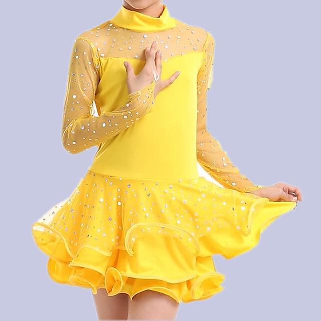 Latin Dance Kids' Dancewear Dress Solid Paillette Tulle Girls' Performance Long Sleeve Elastane Tulle