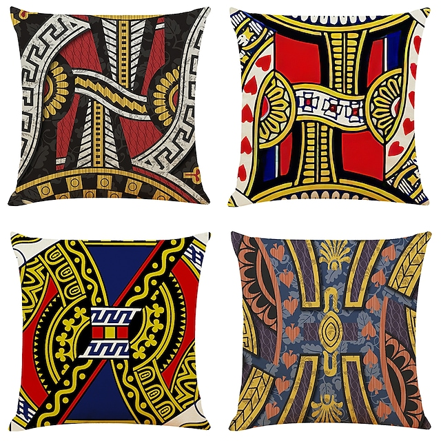 Arty Poker Double Side Cushion Cover 4PC Soft Decorative Square Throw Pillow Cover Cushion Case Pillowcase for Bedroom Livingroom Superior Quality Machine Washable Indoor Cushion for Sofa Couch Bed Chair