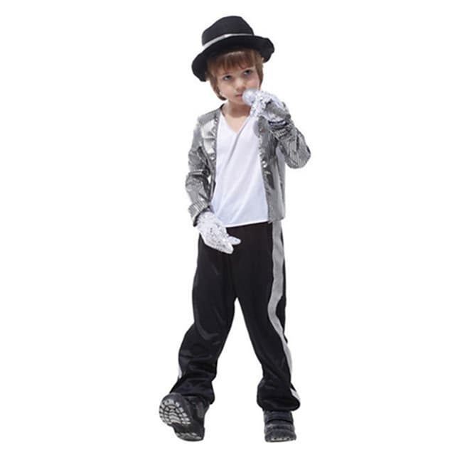 Cosplay Cosplay Costume Kid's Boys' Halloween Halloween Halloween Festival / Holiday Polyster Silver Easy Carnival Costumes Solid Color / Gloves / Hat
