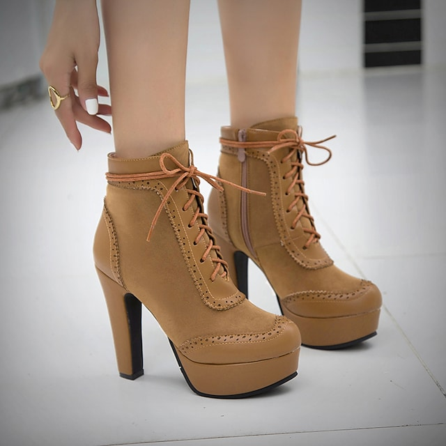 Women's Boots Chunky Heel Round Toe Booties Ankle Boots Wedding Office PU Solid Colored Yellow / Booties / Ankle Boots