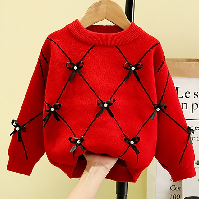 Toddler Girls' Sweater Long Sleeve White Red Plaid Tie Knot Indoor Outdoor Active Daily 1-5 Years