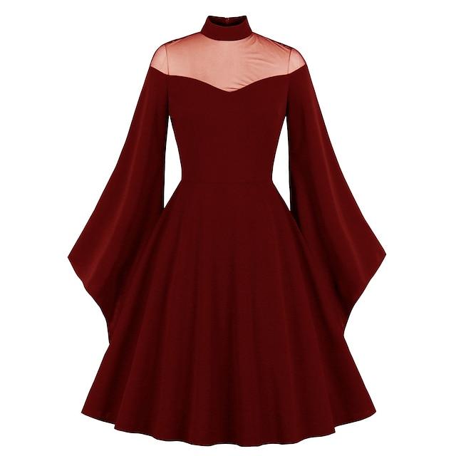 Audrey Hepburn Vintage Dress Women's Spandex Costume Wine / Black Vintage Cosplay Date 3/4 Length Sleeve Midi