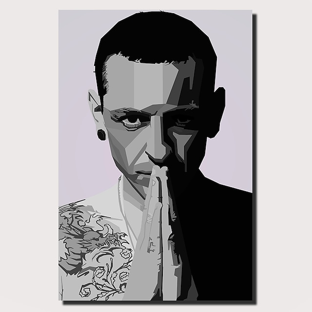 1 Panel Wall Art Canvas Prints Painting Artwork Picture Chester Bennington Musicain Painting Home Decoration Decor Rolled Canvas No Frame Unframed Unstretched