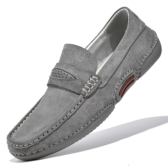 Men's Loafers & Slip-Ons Casual British Daily Office & Career Suede Gray Beige Fall Spring