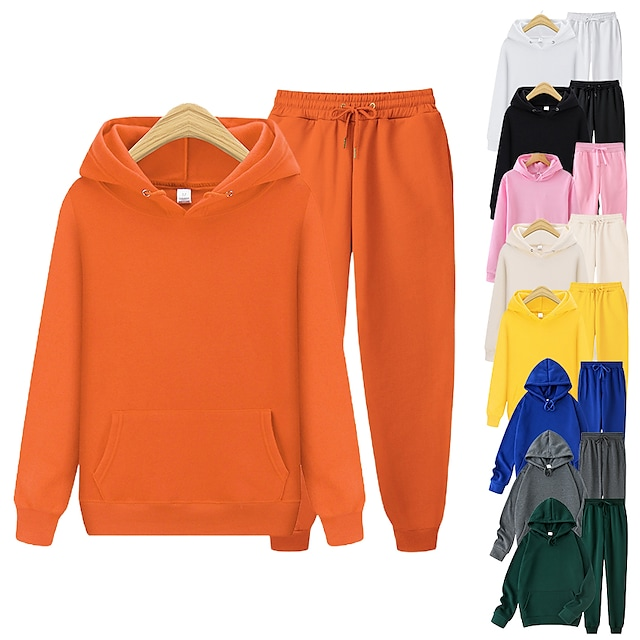 Men's Women's 2pcs Tracksuit Sweatsuit Casual Athleisure Winter Long Sleeve Thermal Warm Soft Fitness Running Jogging Solid Colored Hoodie Track pants Yellow Blushing Pink